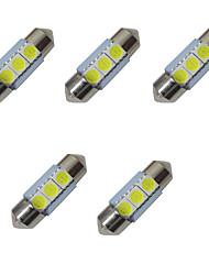 5pcs doppio ha indicato le luci principali 31mm 1w 3smd 5050 chip 80-100lm 6500-7000k dc12v luci di targa di lettura della luce