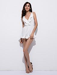 Недорогие -Для женщин Сплошной цвет Мода На каждый день Секси Богемный Комбинезоны,Повседневные На выход Праздники Свободный силуэт Без рукавов