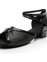 cheap -Women's Latin Shoes Leatherette Heel Low Heel Customizable Dance Shoes Black