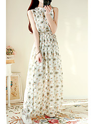 Women's Casual/Daily A Line Dress,Floral Print Round Neck Mini Sleeveless Polyester 100%Cotton Summer Mid Rise Inelastic Medium