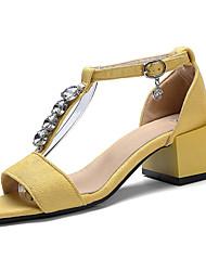 cheap -Women's Sandals Comfort Light Soles Summer PU Casual Dress Sparkling Glitter Buckle Block Heel Black Yellow Green 2in-2 3/4in