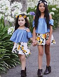 Недорогие -Девочки Наборы Хлопок Мода Цветочный принт С принтом Лето С короткими рукавами Набор одежды