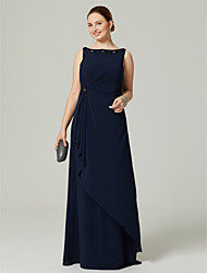 Sheath / Column Bateau Neck Floor Length Chiffon Formal Evening Dress with Beading Pleats by TS Couture®