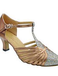 """billige -Dame Moderne Glitter Sandaler Ydeevne Spænde Cubanske hæle Sort Mandel 2 """"- 2 3/4"""" Kan tilpasses"""