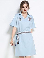 Women's Party Going out Casual/Daily Vintage Simple Street chic Sheath Dress,Embroidery Shirt Collar Above Knee Short Sleeve Cotton Blend