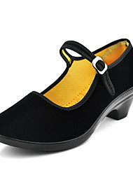Women's Heels Comfort Spring Summer Fabric Dress Office & Career Buckle Chunky Heel Black 2in-2 3/4in