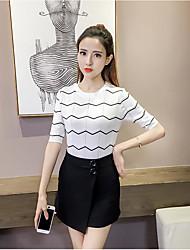 Standard Cardigan Da donna-Casual A strisce Rotonda Mezza manica Lino Estate Sottile Media elasticità