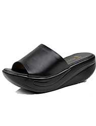 cheap -Women's Slippers & Flip-Flops Moccasin Summer Real Leather Casual Wedge Heel Creepers Black 2in-2 3/4in