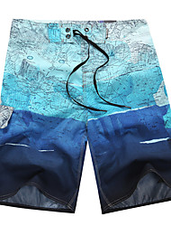 Men's Quick-Drying Breathable Bottoms Print Beach/Swim Shorts Polyester Summer Yellow/Grey/Blue