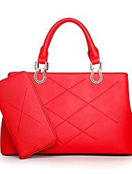 baratos -Mulheres Bolsas PU Conjuntos de saco 2 Pcs Purse Set Preto / Vermelho / Conjuntos de sacolas