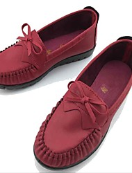 Women's Loafers & Slip-Ons Comfort Spring Fall Fabric Microfibre Walking Shoes Casual Outdoor Bowknot Flat Heel Black Burgundy Flat