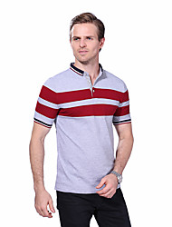 Men's Summer Fashion Patchwork Casual Striped Slim Fit Short Sleeve Polos Cotton Spandex Medium/Plus Size Casual/Daily Simple
