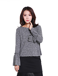 Women's Office/Career Simple Fall Shirt,Simple Crew Neck Long Sleeve Polyester/Rayon(T/R)