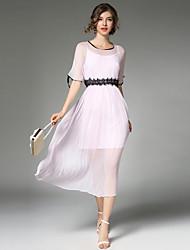 economico -Linea A Vestito Da donna-Feste Per uscire Casual Vintage Moda città Sofisticato Collage Rotonda Medio Manica corta PoliesterePer tutte le