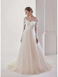 cheap -A-Line Scoop Neck Court Train Lace Tulle Wedding Dress with Lace by Marrica