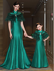 Mermaid / Trumpet High Neck Court Train Satin Mikado Formal Evening Dress with Beading Feathers / Fur Bandage by QZ