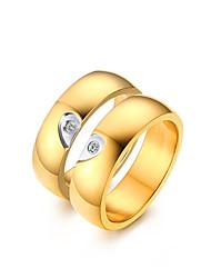 preiswerte -Paar Kubikzirkonia Kubikzirkonia Herz Eheringe - Klassisch / Elegant / Simple Style Gold Ring Für Hochzeit / Party / Jahrestag