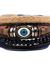 cheap -Men's Leather Bracelet Strand Bracelet Wrap Bracelet Handmade Punk Adjustable Personalized Leather Wood Round Evil Eye Jewelry For Gift