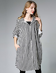 Camicia Da donna Per uscire Casual Moda città Attivo Autunno,A strisce Con cappuccio Cotone Manica lunga Medio spessore