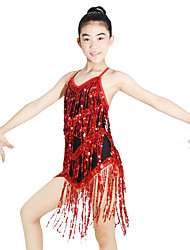 Latin Dance Dresses Women's Children's Performance Elastic Lycra Appliques Paillette Sleeveless Natural Dresses Headpieces