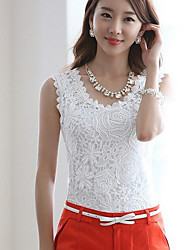 Women's Casual/Daily Simple T-shirt,Solid Round Neck Sleeveless Polyester Others