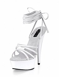 Women's Sandals Formal Shoes Summer PU Dress Party & Evening Lace-up Stiletto Heel White Black 5in & over