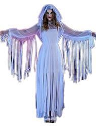 Ghost Cosplay One-Piece/Dress Cosplay Costumes Halloween Props Female Festival/Holiday Halloween Costumes White Halloween Carnival Vintage