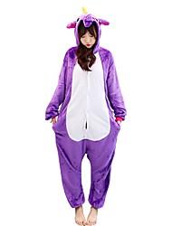 cheap -Kigurumi Pajamas Horse Unicorn Onesie Pajamas Costume Flannelette Light Purple Cosplay For Adults' Animal Sleepwear Cartoon Halloween