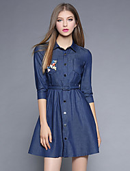 Women's Daily Going out Casual Street chic Sophisticated A Line Sheath Denim Dress,Solid Embroidered Shirt Collar Above Knee Half Sleeves