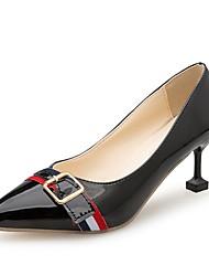 cheap -Women's Heels Comfort Summer PU Dress Kitten Heel Black Beige Gray 1in-1 3/4in