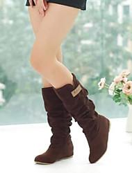 Недорогие -Для женщин Обувь Полиуретан Флис Зима Осень Удобная обувь Ботинки Закрытый мыс Сапоги до середины икры для Повседневные Черный Коричневый
