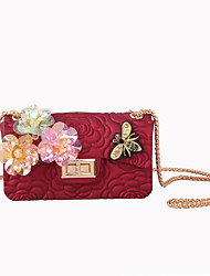 Women Bags All Seasons Silica Gel Shoulder Bag with Rhinestone Appliques Sparkling Glitter Bead Seemless Sequined Floral Sided Jacquard