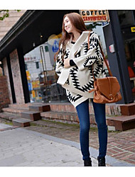 Women's Going out Casual/Daily Simple Regular Cardigan,Print V Neck 3/4 Length Sleeves Wool Fall Winter Medium Micro-elastic