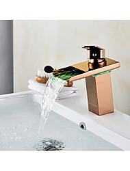 Set de centre Jet pluie Soupape céramique 1 trou Or rose , Robinet lavabo