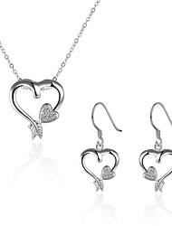 baratos -Mulheres Zircônia Cubica / Zircônia cúbica Zircão / Zircônia Cubica / Prata Chapeada Hipoalergênico Coração Conjunto de jóias -