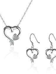 cheap -Women's Cubic Zirconia / AAA Cubic Zirconia Zircon / Cubic Zirconia / Silver Plated Hypoallergenic Heart Jewelry Set - Personalized /