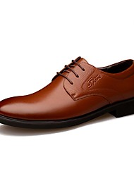 cheap -Men's Shoes Leather Spring Fall Formal Shoes Comfort Oxfords Walking Shoes Lace-up for Casual Office & Career Party & Evening Black Brown