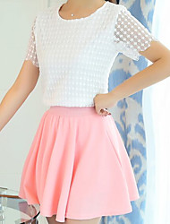 Women's Casual/Daily Simple Summer Blouse Skirt Suits,Lace Round Neck Short Sleeve Lace