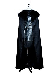 economico -Game of Thrones/Il trono di spade Jon Snow Costume Cosplay da film Nero Top Gonna Mantello Cintura Halloween Carnevale Cuoio Poliestere