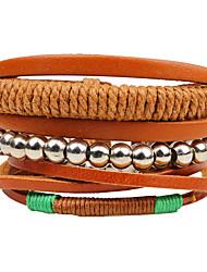 cheap -Men's Women's Leather Bracelet Wrap Bracelet Strand Bracelet Personalized DIY Handmade Multi-ways Wear Adjustable Leather Wood Round