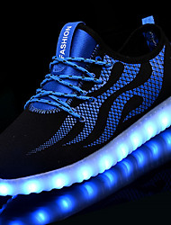 cheap -Unisex Sneakers Light Up Shoes Fall Winter Net Tulle Casual LED Low Heel Black/White Blue/Black Under 1in
