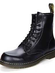 cheap -Men's Shoes PU Leather Winter Fall Light Soles Bootie Motorcycle Boots Fashion Boots Snow Boots Comfort Boots Mid-Calf Boots Lace-up for