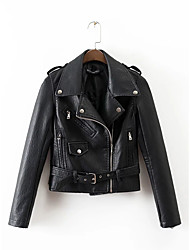 cheap -Women's Daily Sports Going out Street chic Winter Fall Regular Leather Jacket, Solid Notch Lapel Others