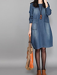 cheap -Women's Daily Weekend Chic & Modern Loose Above Knee Dress,Solid Denim Round Neck 3/4 Length Sleeves Spring Fall