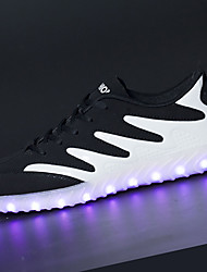cheap -Men's Athletic Shoes Walking Light Up Shoes Light Soles PU Spring Fall Athletic LED Lace-up Flat Heel Black/White Black/Gold Flat