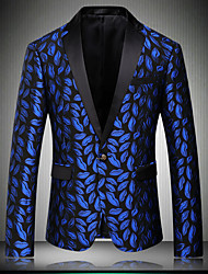 cheap -Men's Club Vintage Street chic Winter Fall Suit,Print Notch Lapel Long Sleeve Regular Rayon Sequins