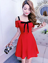 cheap -Women's Going out Club Sheath Dress,Solid Boat Neck Above Knee Short Sleeves Polyester Summer Mid Rise Micro-elastic Thin
