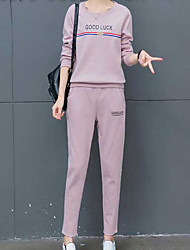 Women's Sports Simple Summer T-shirt Pant Suits,Solid Round Neck Long Sleeve