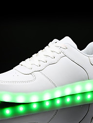cheap -Women's Shoes PU Spring Fall Comfort Sneakers Flat Heel Round Toe Lace-up LED For Casual White Black