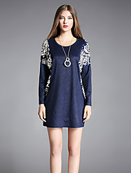 YIYEXINXIANG Women's Daily Going out Casual Tunic Dress,Print Round Neck Above Knee Long Sleeves Polyester Fall Mid Rise Stretchy Medium